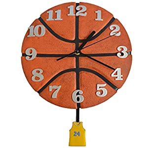 Giftgarden Friend Gifts Basketball Gift Wall Clock with Pendulum for Wall Art