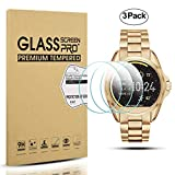 Diruite 3-Pack for Michael Kors Bradshaw Screen Protector, 2.5D 9H Hardness Tempered Glass Screen Protector for Michael Kors MKT5001 Smart Watch - Permanent Warranty Replacement
