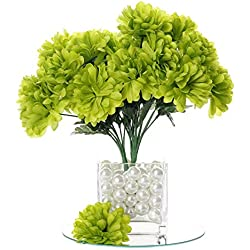 BalsaCircle 84 Lime Green Silk Chrysanthemums - 12 Bushes - Artificial Flowers Wedding Party Centerpieces Arrangements Bouquets