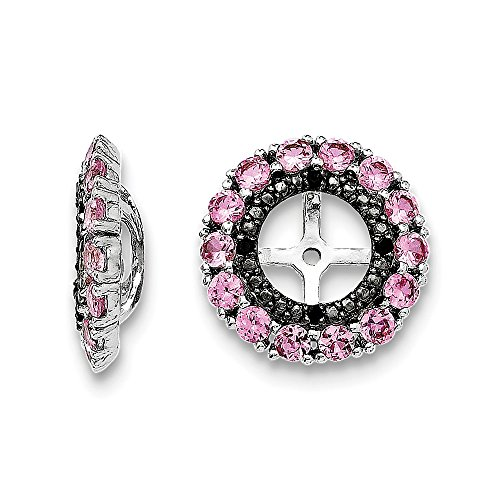 Sterling Silver Rhodium Crted Pink Sapphire & Black Sapphire Earring Jacket by Jewels By Lux