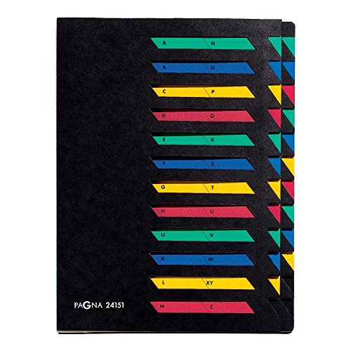 Pagna 24151-04 Trieur en carton souple 24 onglets color/és de A /à Z Noir Import Allemagne