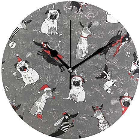 UKIO 掛け時計 置き時計 壁掛け時計 犬柄 動物柄 クリスマス グレー 部屋装飾 壁時計 インテリア おしゃれ かわいい アート 部屋 ウォールクロック 円型
