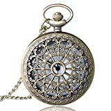 Bronze Antique Vintage Quartz Steampunk Pocket Watch Spider Web Hollow Women Men