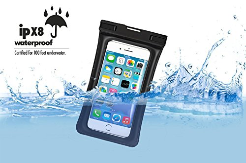 Floating Waterproof Phone Pouch,[Universal] [2 Pack] [Black & Black] - Perfect for Boating/Kayaking/Rafting/Swimming/Snorkeling, Dry Bag Protects your cell phone and valuables - IPX8 Certified by PEADOO (Image #2)