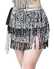 Women Belly Dance Sequin Tassel Skirt Fringe Hip Scarf Sexy Waist Belt Wrap Skirts