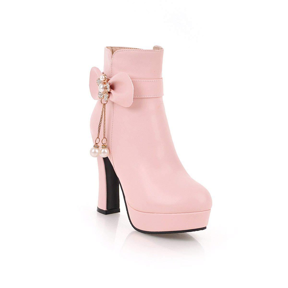 Hy 2018 Damenschuhe Herbst Winter Martins Stiefel Damen Strass Bowknot Super High Heel Stiefelies Stiefeletten Mode Stiefel Weiß Schwarz Rosa (Farbe   Rosa Größe   34)
