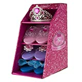 Lot de 3 paires de chaussures à talon (court) pour déguisement de princesse avec revêtement anti-dérapant et 1 diadème
