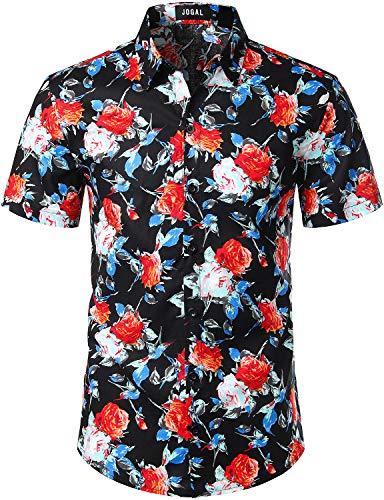 JOGAL Men's Flower Cotton Button Down Short Sleeve Hawaiian Shirt Medium A335 BlackCamellia - Big And Men Shirts Tall