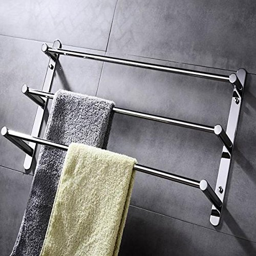 Stainless Steel Bathroom Shelves 23.6 Inch Three Towel Bar Hotel bath Towel Rack Modern Polished Finish