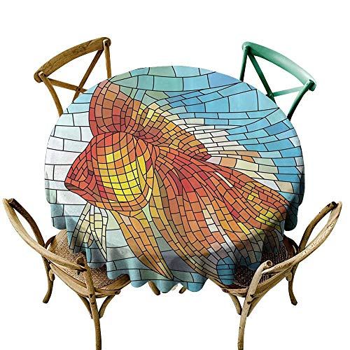 Jbgzzm Wrinkle Resistant Tablecloth Abstract Orange Tropical Fish Style with Mosaic Art Pattern Stained Glass Window and Gold Fish Underwater Excellent Durability D51 Blue Ocean