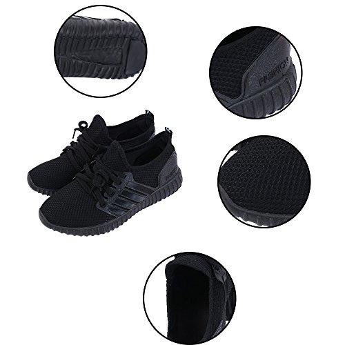 Damen Sportschuhe Schwarz Aelegant Sneaker Laufschuhe Leichte Atmungsaktiv Wanderschuhe zqWUAOS