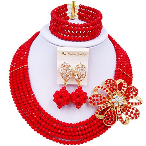 Pearl Brooch Costume Jewelry (laanc Fashion Lady Jewellery 5 Rows MultiColor Crystal Nigerian Bridel Wedding African Bead Jewelry Sets (Opaque Red))