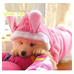 STAR-TOP Cute Pet Dog Cat Bunny Clothes Soft Plush Warm Winter Dog Hoodie Warm Clothes Autumn Winter Puppy Costume Apparel(Pink-L)