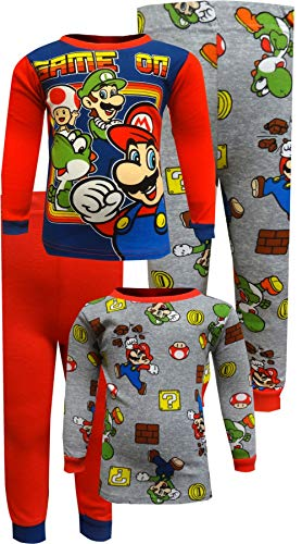 Super Mario Brothers Boys' Big Nintendo 4-Piece Cotton Pajama Set, Mario red, 8