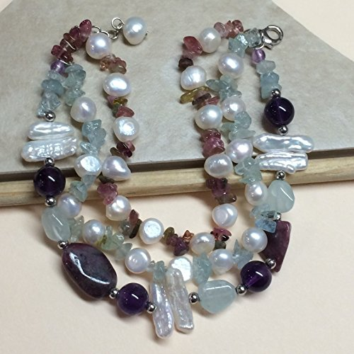 Genuine 40ct Aquamarine, Multicolor Tourmaline, Freshwater Cultured Pearl, Purple Amethyst, Blue Topaz, Biwa Pearl 925 Solid Sterling Silver Bracelet 8 1/2