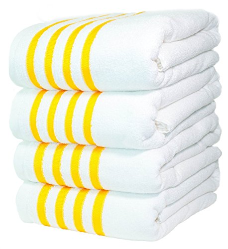 4 Premium Bath Towels Pool-Towels Beach-Towels. 100% USA Cotton Bath-Sheets 4 Massive Hotel Spa Quality Super Luxury Palazzo Absorbent & Durable. 4 Pack White with Yellow Stripes. By Paradise Linen by Paradise Linen