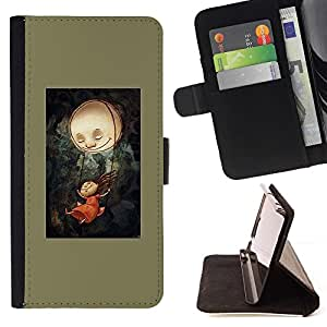 For HTC One A9 Case , Pintura verde oliva oscuro espeluznante- la tarjeta de Crédito Slots PU Funda de cuero Monedero caso cubierta de piel