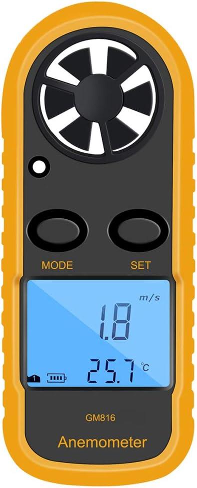 Lorsoul GM816 Digital Viento del anemómetro del Metro del calibrador Velocidad, LCD portátil medidor de Viento de Flujo de Aire Termómetro, SIN Batterris