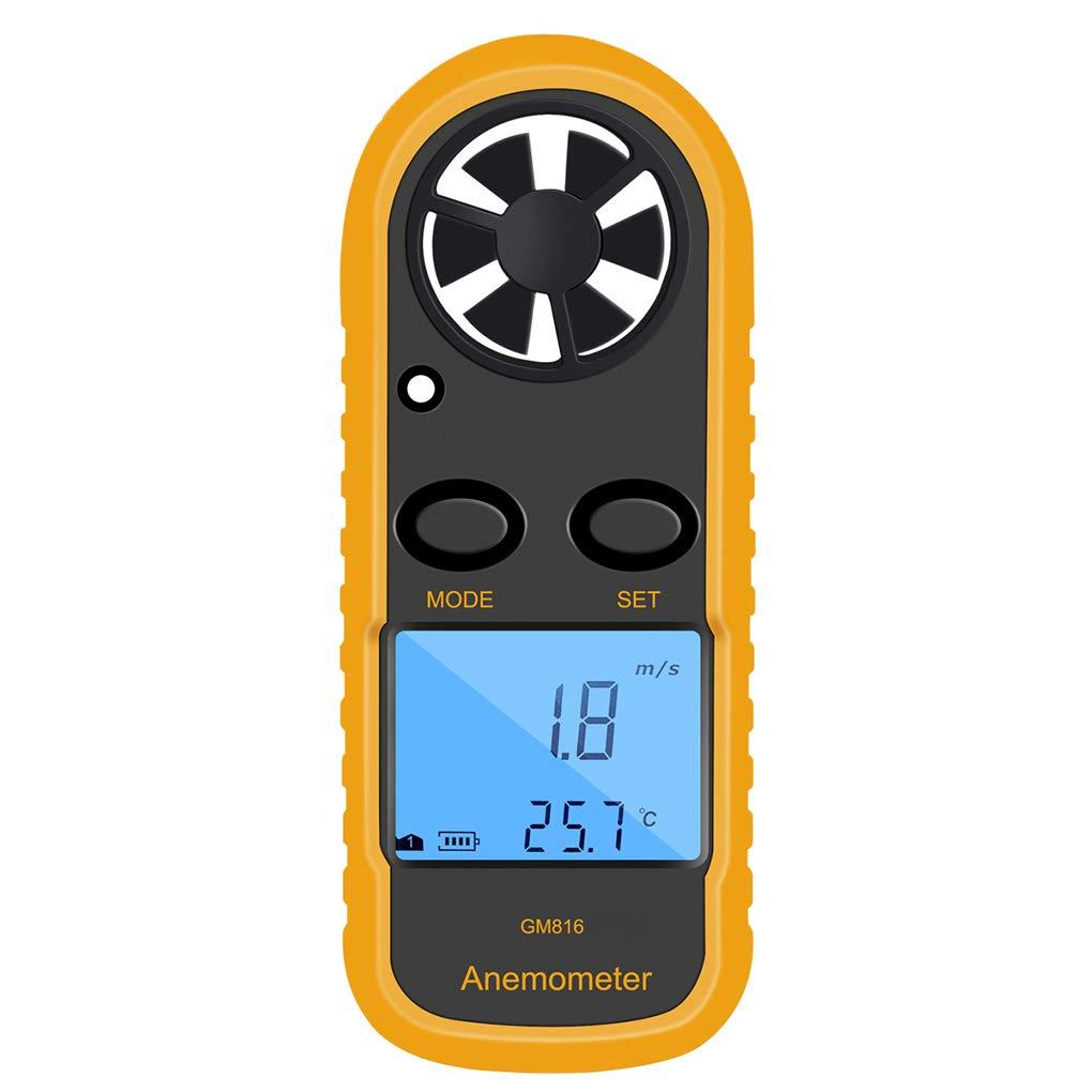 ELENXS Numérique GM816 Anémomètre Vent-Vitesse Jauge Compteur LCD Portable Anémomètre Thermomètre Airflow