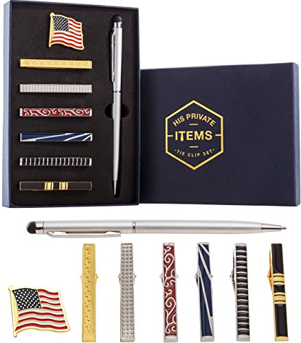 Tie Bar Clip Set for Men -[6 Pc]- Pinch / Hold Classic Regular Ties - Gift Box