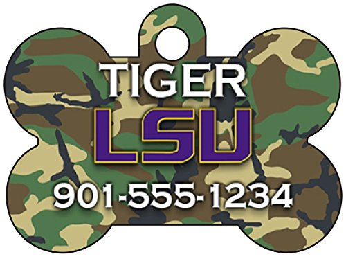 NCAA Camo Pet Id Tag for Dogs & Cats Personalized w/ Name & Number (LSU Tigers)