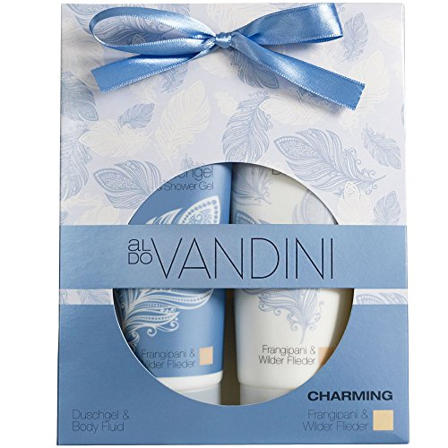 Shower Gel & Body Lotion Gift Set Imported From Germany Alluring Scent of Wild Lilac & Frangipani 2 x 200ml Vegan Paraben Free Moisturizing Shower Gel & Body Cream by CHARMING aldo Vandini