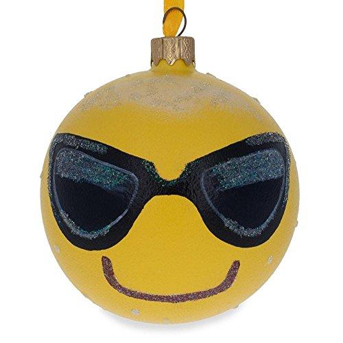 BestPysanky Cool Sunglasses Emoji Glass Ball Christmas Ornament 3.25 -