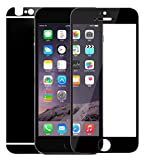 Dreams Mall(TM)Electroplating Mirror Effect Tempered Glass Screen Protector Film Decal Skin Sticker for Apple iPhone 6 4.7 inch-Black