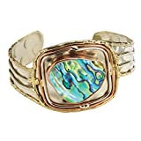FLORIANA Women's Abalone Cuff Bracelet - Silver Brass & Copper Setting