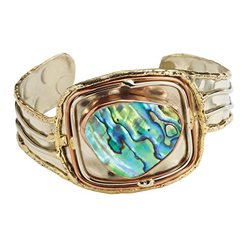 (FLORIANA Women's Abalone Cuff Bracelet - Silver Brass & Copper Setting)
