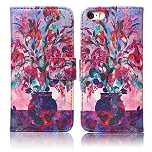 LCJ Flowers Pattern Oil Painting Style Protective Case with Stand and Card Slots for iPhone 5/5S