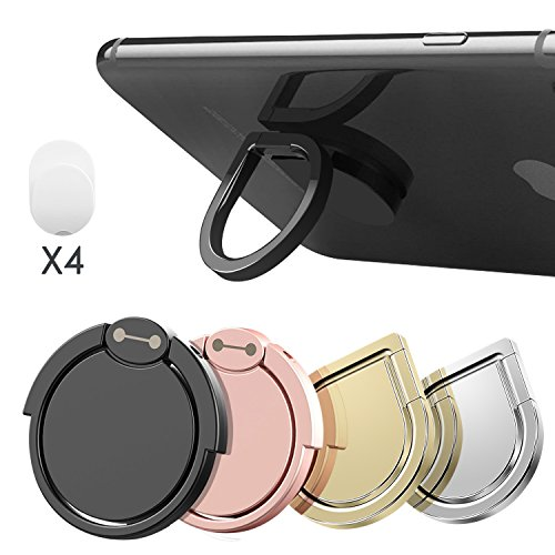 Cell Phone Ring Stand Holder, Water Drop Shape Zinc Alloy Universal 360°Rotation Finger Loop Grip [Washable/Removable/Magnetic Car Mount] for iPhone, Smartphones and Tablet (4 (Shape Cell Phone)