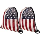 Peicees 3D Print Drawstring Backpack for Women Men kids Girls and Boys, Dating Travel Daily Shopping Open Air Concert School Cheer Team Drawstring Backpack Bag(American Flag-2 Pack)