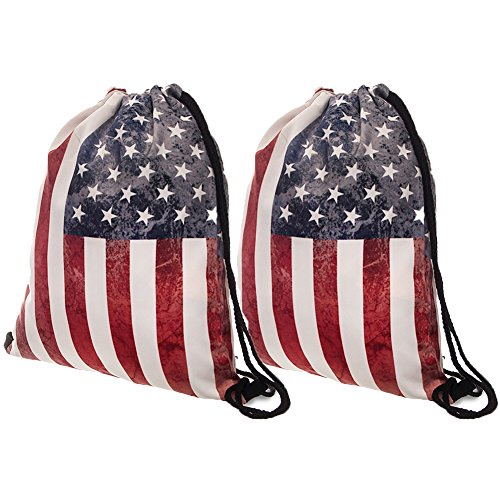 Peicees 3D Print Drawstring Backpack for Women Men kids Girls and Boys, Dating Travel Daily Shopping Open Air Concert School Cheer Team Drawstring Backpack Bag(American Flag-2 Pack) by Peicees