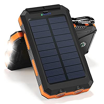 Solar Charger, 10000mAh Solar Power Bank Portable Battery Pack Cellphone Charger with 2 LED Flashlights, Solar Panel with Compass and Carabiner for IOS and Android Cellphones