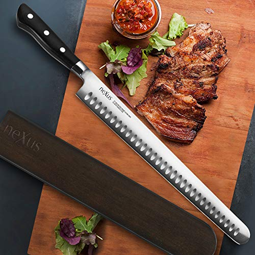 Nexus BD1N 12-inch Hollow Edge Brisket Slicing Knife with Magnetic Sheath, 63 Rockwell Hardness, American Stainless Steel with G10 Handle by Nexus (Image #1)