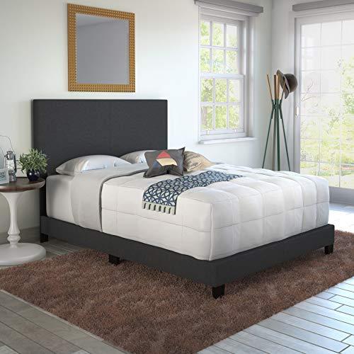 Sleep Sync Tivoli Black Linen Upholstered Platform Bed Frame in Four Sizes Full/Double - Black Sync