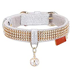 Silver Premium PU Leather with Pendant & Rhinestones Adjustable Collars