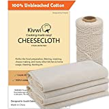 Cheesecloth and Cooking Twine, Grade 60, 100% Unbleached Cotton (4 Yards/ 36 Sq. Feet) Reusable Cheesecloth Straining with 220 Ft Butchers Twine By Kivwi (Grade 60 with cooking twine)