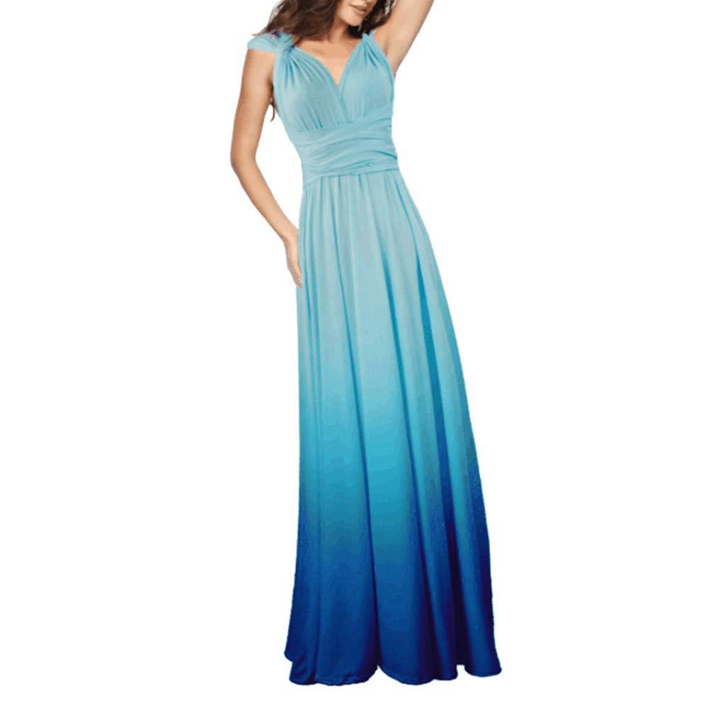 Mikilon Women Bridesmaid Maxi Dress Multi-Way Wrap Evening Dress Formal Wedding Party Long Dresses Gradient Light Blue by Mikilon Women Dress