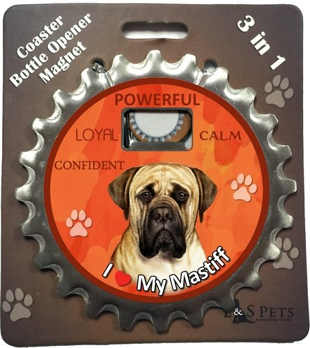 Mastiff Magnet (E&S Pets English Mastiff Bottle Opener, Coaster and Magnet)