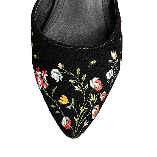 Nine Seven Cuero Moda Puntiagudos Zapatos de Tacón Aguja con Bordado para Mujer negro