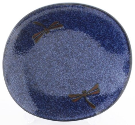 Happy Sales 4 Piece Dragonfly Blue Round Dinner Plate Set, Blue
