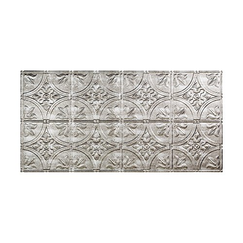 Fasade Easy Installation Traditional 2 Crosshatch Silver Glue Up Ceiling Tile / Ceiling Panel (2' x 4' Panel) ()