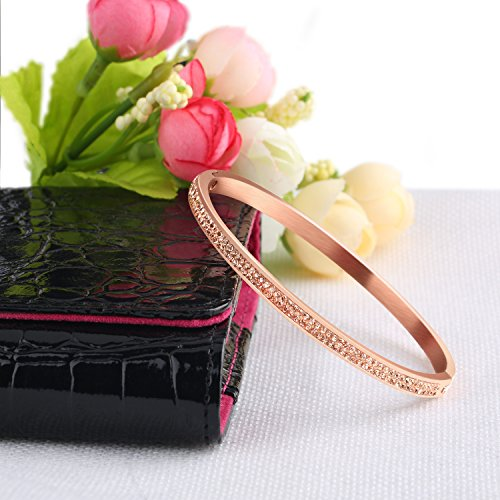 Bangles Bracelet,UHIBROS Hinged Bangle Bracelet Stainless Steel Gem Metal Fashion Wristband Bangle