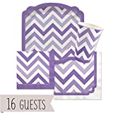 Big Dot of Happiness Chevron Purple - Party Tableware Plates, Cups, Napkins - Bundle for 16