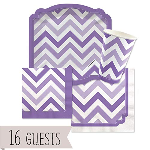Big Dot of Happiness Chevron Purple - Party Tableware Plates, Cups, Napkins - Bundle for -
