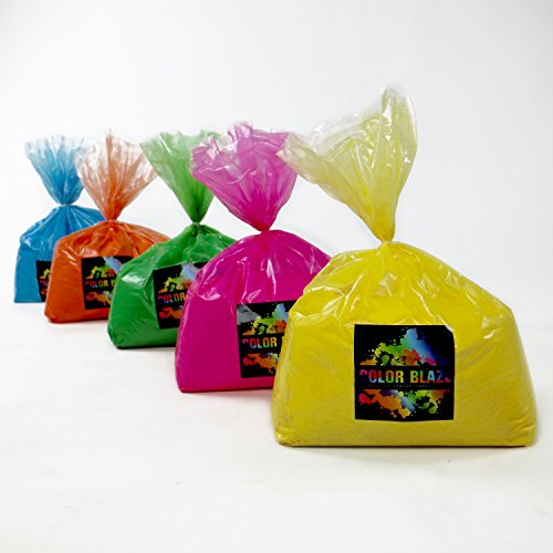 Color Powder Multi Mix Pack 25 Pounds - 5 pounds of 5 colors - Ideal for color run events, youth group color wars, Holi events and more! by Color Blaze Supply/Wholesale Color Powder