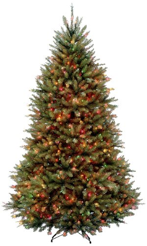 National Tree 6.5 Foot Dunhill Fir Tree with 650 Multicolor Lights, Hinged (DUH-65RLO) (By Number Tree Christmas Color)