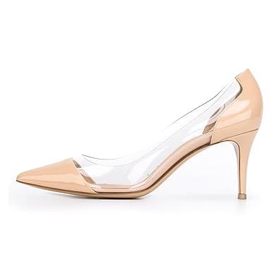 d1da3a4a253 Sammitop Women s 6.5cm Pointed Toe Transparent Pumps PVC Kitten Heel Dress  Shoes Beige US5